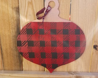 Plaid Ornament Door Hanger, Two Sided