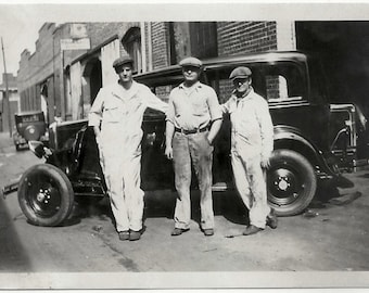 Old Photo Men and Car by Garage 2 Men wearing Jumpsuits Hats 1920s Photograph snapshot vintage