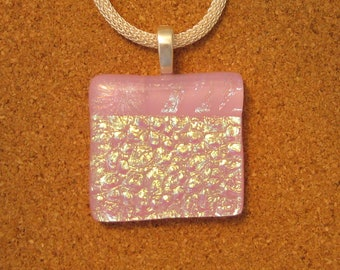 Pink Dichroic Pendant - Dichroic Jewelry - Fused Glass Pendant - Fused Glass Jewelry - Fused Glass Necklace - Dichroic Necklace - Glass