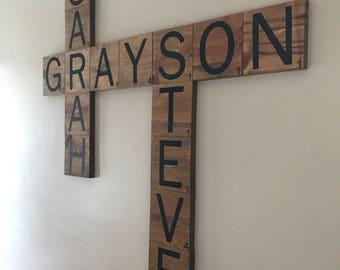 Personalized Scrabble Tiles - Scrabble Wall Art - Scrabble Wall Decor - Wooden Scrabble Tiles