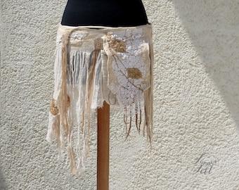 Nuno Felted Pixie Skirt with Pocket Fairy Belt Festival Clothing Tattered Skirt Faerie Hip Wrap Skirt Fairy Layering skirt Hip Bag