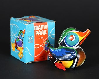 Vintage Lehmann Mama Paak No. 940 Tin Litho Wind-Up Duck Toy