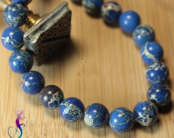 10 pearls 8mm natural blue Jasper