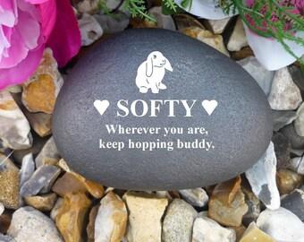 Personalised Pebble (Stone Effect) - Pet Memorial - Weatherproof - Personalised  - Rabbit