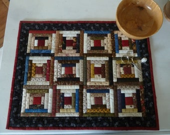 """Miniature Courthouse Steps in Dark Colors-- Darlene Zimmerman, original, 1/2"""" finished logs, 15"""" x 19"""", machine quilted"""