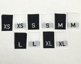 Mixed Lot of 1000 Pieces Black/White Woven Clothing Sewing Labels, Tags, Tabs (200 Each of XS, S, M, L, XL)
