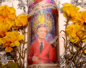 Mr Rogers Celebrity Prayer Pillar Candle Veladora Day Of The Dead Altar Halloween Dia De Los Muertos