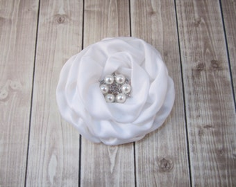 White Bridal Flower - Fascinator - Hair Flower - You choose rhinestone or pearl rhinestone accent -  Wedding Bridal Flower Girl