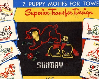 Puppy transfer designs Day of the week UNCUT dog puppy transfer patterns Childrens room decor diy Superior Transfer Design No 165