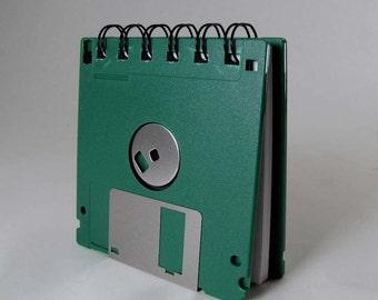 Floppy Disk Mini Notebook in Forest Green Recycled Geek Gear Blank