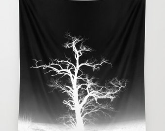 Trees Wall Tapestry, Trees Home Decor, Nature Tapestry, Dorm, Office, Home Decor, Tree Branches, Woodland, Dark, Gothic, Noir, Black White