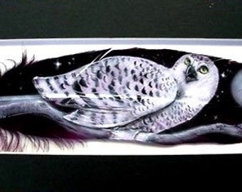 Perched Snowy Owl - Russ Abbott - Original Hand Painted Feather