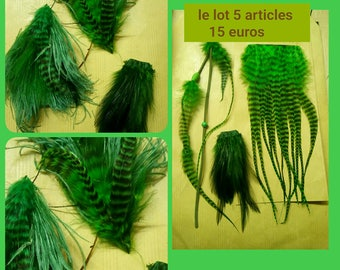 set of 5 items green feathers