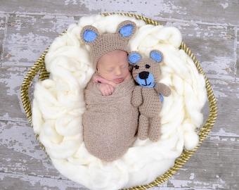 Crochet Baby Bonnet and Teddy bear Set