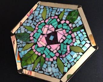 Iridescent floral mosaic trivet