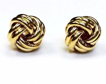 18k solid yellow gold(15mm)love knot stud earrings
