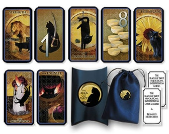 Lady Black Cat Tarot Decks designed and digitally painted by Anne Adden.