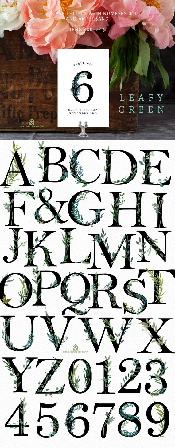 UPPERCASE Floral Alphabets, Numbers and Ampersand-  Leafy Green Alphabet, Floral Numbers and Ampersand