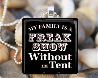 FAMILY FREAK SHOW Sarcastic Funny Humorous Evil Sassy Glass Tile Pendant Necklace Keyring
