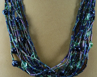 green iris 15 strand beaded necklace