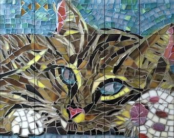 Handmade, Ceramic Tile Mural Backsplash, Mosaic Stain Glass-Cat 17 x 21.25