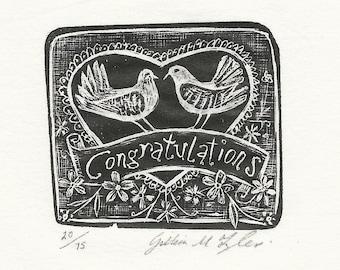 Congratulations Original Wood Engraving