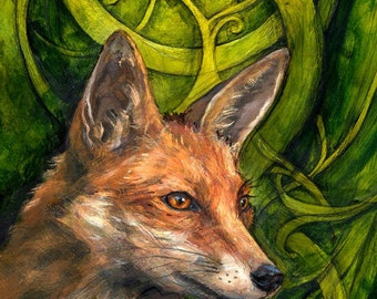 Bold Undaunted Fox, aceo print (2.5 x 3.5 inches)