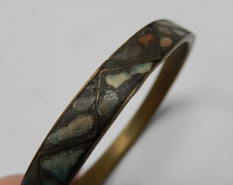 bracelet, old stone mosaic bangle on copper, India, free shipping