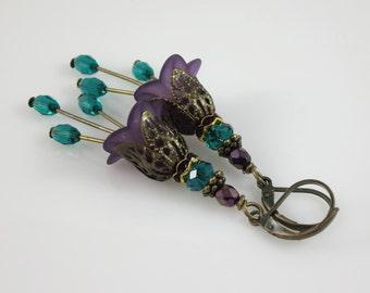 Teal Purple Lucite Flower Earrings Czech Glass & Rhinestone Floral Bronze Earrings