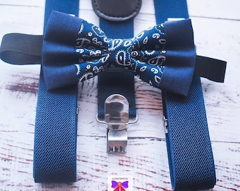 Kids Navy Blue Paisley Bow Tie with Suspenders / Braces  for Baby, Toddlers and Boys - Wedding / Cake Smash / Birthday / Christening / Party