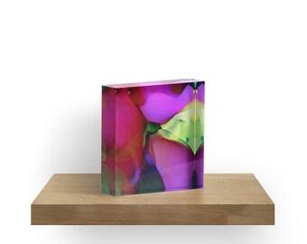 Acrylic Block Flowing Flower