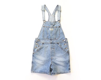 Levis Overalls 1990s Shortalls 90s Jean Shorts Blue Faded Denim Jumper Romper Bibs Grunge Aesthetic Workwear Baggy XS Extra Small