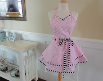 Soft Pink - READY TO SHIP  ~Sadie Style Women's Apron ~ 4RetroSisters
