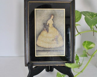 Antique Shabby Chic Oilette in Frame - Isabella - Victorian - Demasque Postcard - Shabby Chic Decor - Ballgown Picture - Painted Glass - 5x7