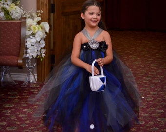 Black, Blue and Silver tulle full length dress