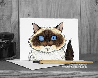 Cat Greeting Card, Birman Cat Card, Mother's Day Card, Cat Birthday Card, Cute Cat Card, Greeting Card for Cat Lover