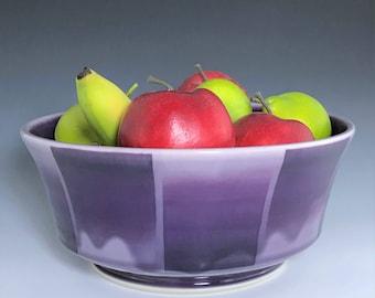 Large Purple Serving Bowl, Purple Ceramic Bowl, Porcelain Bowl, Large Salad Bowl, Purple Bowl, Wheel Thrown Pottery Bowl, Ceramic Fruit Bowl