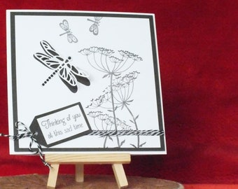 Handmade blank sympathy card black and white for male,female,boy or girl with 3d dragonfly