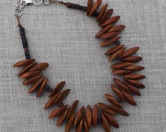 Ethnic Redwood Petal Necklace