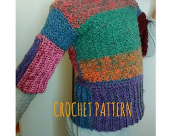 Crochet PATTERN Clothing Sweater. Baby Girl Adult colorful Shirt. Easy Intermediate Level. How to Tutorial. Written Instructions in ENGLISH.
