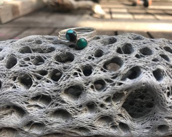 hammered turquoise stacker set