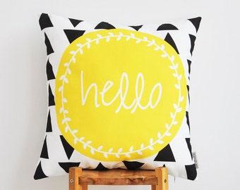"Decorative Pillows, Throw Pillow, Cushion Cover, Modern Kids Pillow, Nursery Decor, Housewarming Gift, Baby Shower, Yellow 16"" x 16"""