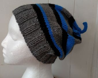 Striped Knitted Hat with Doodads