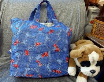 Cotton Shopping Tote Bag, Denim Western Jeans Pockets Print