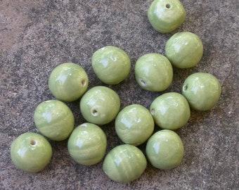 Sage Green Beads, light green beads, sage beads, round green beads, varigated beads, green beads, ceramic green beads, green pottery beads