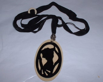 Vintage Celluloid and Ribbon Pendant Necklace