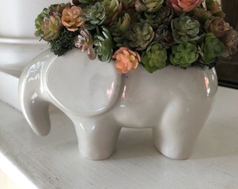 Faux Succulents in Animal Planter, Elephant Planter, Succulents in Elephant Planter