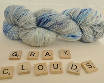 """Hand-dyed yarn, """"Gray Clouds"""" variegated, soft and squishy yarn. Great for socks or shawls. 80/20 Superwash wool/Nylon"""