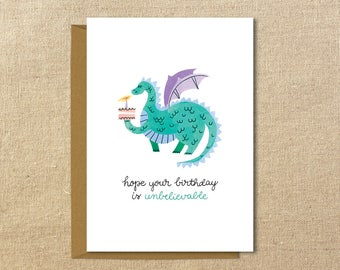 Cute Dragon Birthday Card | A2 Illustrated Greeting Card