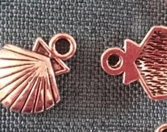 Set of 2 Tibetan silver shell charms